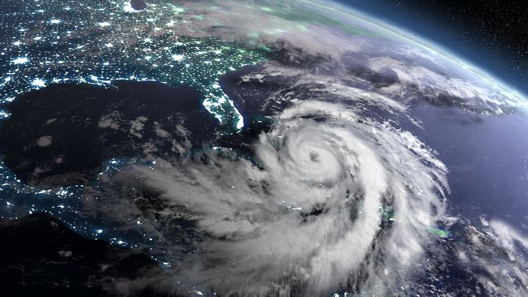 Satellite image of the Florida coast about to be hit by a hurricane